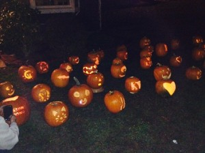 The pumpkins lit up at night.