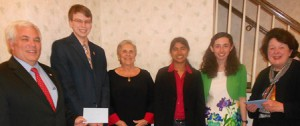 (l to r) Patrick Griffin, Connor Hayden, Shrewsbury Woman's Club (SWC) Director Carolyn Padavano, Sonali Razdan, Emily Rivard, and SWC Education Chair Mary Ellen Killelea. (Photo/submitted)