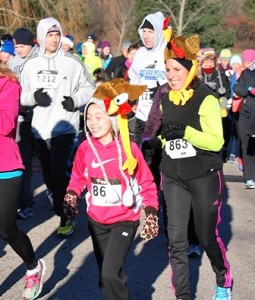 Emma Simon, 10, and her mother, Debbie, start the Gobble Wobble route.