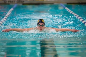 Shrewsbury's Lea Murphy swims the 100-yard butterfly.