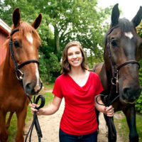 : Caroline Johnson with her horses, George (l) and Morris Photos/submitted