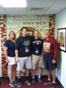 (l to r) Sue Crippen, Greg Crippen, Tom Crippen, Boston College Head Football Coach Steve Addazio. Photos/submitted