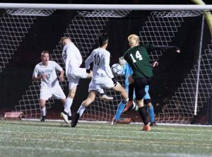 Jonas Walter is able to find the back of net 11 minutes into the game for Nipmuc.