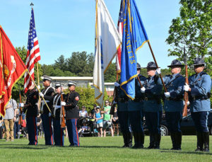 The colors are presented by color guards of the U.S. Marine Corps and Massachusetts State Police. Photos/Ed Karvoski Jr.