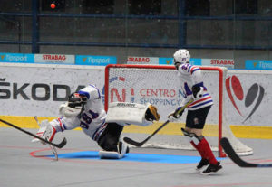 Andrew Fraser stops a ball during a game at the World Junior Ball Hockey Championships held in Nitro, Slovakia. Photos/submitted