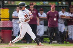 Marlborough's Cameron Plank swings at a pitch.
