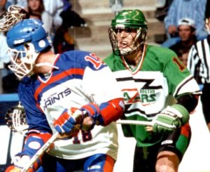"""Randy Fraser playing for the Boston Blazers """"box"""" lacrosse team in the early 1990s."""