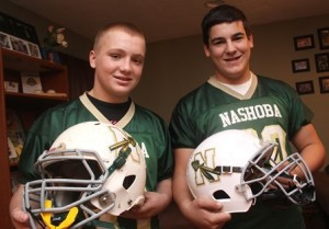 Billy Soto, left, and Charlie Michaelides, of Marlborough, will be competing with the Nashoba Chiefs for the Grade 8 American Youth Football national championship. Photo.John Swinconeck
