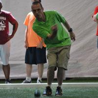 A competitor throws a bocce ball. Photos/Dakota Antelman