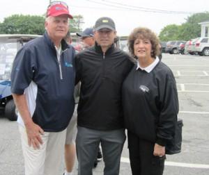 (l to r)  Golf pro Skip Guss, Boston Bruins alumnus Guy Larose, and Susanne Morreale-Leeber, Marlborough Regional Chamber of Commerce president and CEO