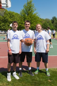 (From left) Joe Basteri, Sam Piotrowski and Nic Zanghi during the 135 Spring Classic Basketball Tournament.
