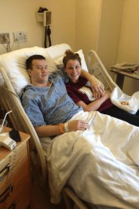 Lauren Vulcano and her boyfriend, Mark Snickenberger in the hospital after the bombing. (Photos/submitted)