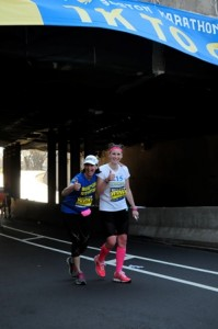 Lauren Vulcano (right) and her mother, Michele Vulcano, near the end of the 2014 Boston Marathon