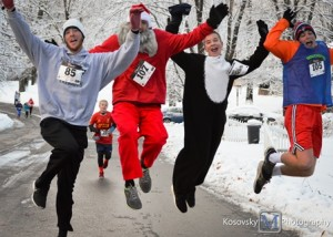 An unexpected snow storm did not stop 200 walkers and runners from participating in the last year's Turkey Trot to benefit the Northborough Food Pantry. Photo/courtesy Maggie Kosovsky