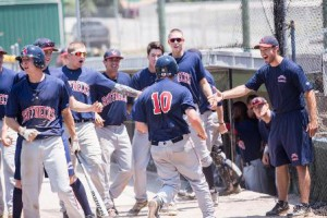 Matt Hosman and the Ruffnecks celebrate his winning run at the Premier World Series in Joplin, Miss. Photo/submitted