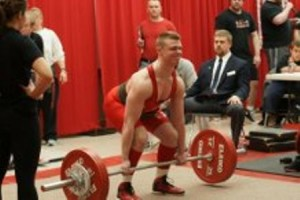 Saint John's sophomore Zack Bryant squatted 181 pounds at the fourth annual Ryan Moore New England High School Powerlifting Championships. (Photo/Eduardo Cuan)