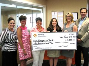 (l to r) Rhiannon Hernandez, Framingham AVP Market Manager of Avidia Bank; Maureen Johnson, Rangers on Track Fundraising Committee; Johanna DiCarlo, Westborough High School Athletic Director; Amber Bock, Westborough Superintendent of Schools; Sara Dullea, Chair, School Committee; Brian Callaghan, Westborough High School Principal.