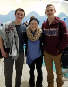 (l to r) Westborough High co-ed swim team senior captains Andrew Rosenfeld, Rachel Shuffelbarger and Ryan Shuffelbarger. Photo/John Orrell