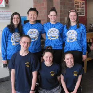 (Top row, l to r) Shrewsbury swimmers Meghan Kean, Samantha Du, Sarah Arsenault and Erin Kean; (bottom row, l to r) boys