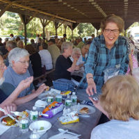 Representative Kate Hogan greets constituents at a recent senior cookout. Photo/submitted