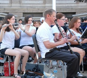 Members of the Westborough Community Band play patriotic music.