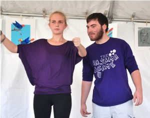 Westborough High School seniors Emily Herz and Robert Hersted create a comedic sketch with Improv Is Nation.