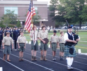 A bagpiper leads the honor guard at the start of Westborough's 9/11 ceremony.