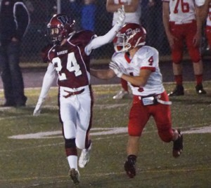 Alec Rastad runs a route during Westborough High's Sept. 19 game against North Middlesex Regional. (Photo/submitted)