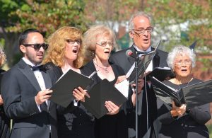 Performing on the bandstand are members of the Assabet Valley Chambersingers, a small ensemble selected from the Assabet Valley Mastersingers. Photos/Ed Koarvoski Jr.