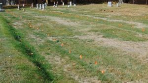 Small orange flags mark the grave sites that have been found.