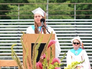 Valedictorian Erin Reynolds speaks to her classmates.