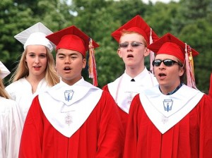 (l to r) Abby Stadig, Koya Nakata, Harrison Honor and Mike Damiano sing