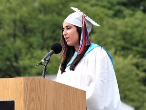 Margaret Sharma, Student Council president, welcomes everyone to the ceremony.