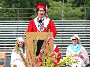 Salutatorian Alexander DeFiore reminds his classmates to always be awesome.