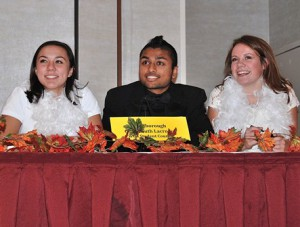 The Westborough High School Student Council teammates (l to r) Taylor Powers, Shreedhar Deshpande and Erin McCarthy win one of the six preliminary rounds.