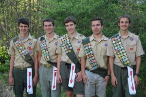 (l to r) Eagle Scouts Daniel McKay, Shawn McElligott, Tim Askew, Robert Stout and John O'Connell