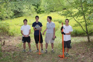Daniel McKay (second from left) with volunteers at his Eagle Scout project.