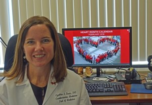 Dr. Cynthia Ennis in her office in the UMass hospital urges women to pay more attention to heart disease. Photo/Submitted