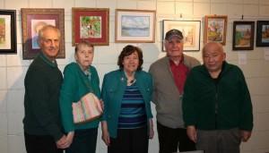"(l to r) Highland residents Bob Montesano, Jane McCabe, Sheila Granger, John Poles and Herb Terakawa ""Cloud Song"" by Sheila Granger (Photos/Jane Keller Gordon)"