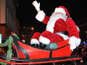 Santa arrives at the rotary in style.