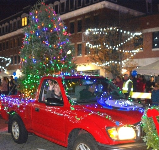 westborough civic club promotes its 41st annual christmas tree sale with a float in the light - Christmas Car Parade Decorations