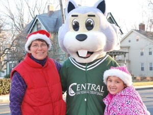 Derreth Adams and her granddaughter, Maya Deleon, 6, meet Oakie, the Central One Federal Credit Union mascot.