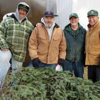 (l to r) Bill Strohsnitter, Joe Watts, Walter Leslie and Ron Slingerland at the Civic Club's Christmas tree sale. Photo/submitted