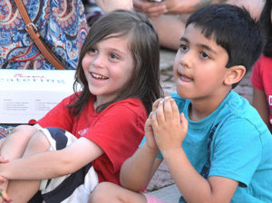 Ashford Sandler and Naksh Parwani, both 5, enjoy Fran Flynn's magic show. Photos/Ed Karvoski Jr.