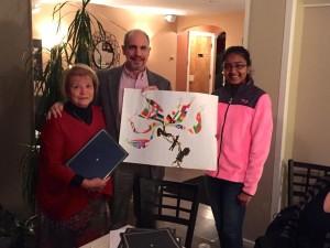 (l to r) Judy Hyotte, Westborough Peace Poster chair, Ron Pallisco, Westborough Lions Club Shivani Allada