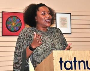 Zorina Frey recites her poetry at the debut of Literary Arts Open Mic Night in September at Tatnuck Bookseller. File Photo/Ed Karvoski Jr.