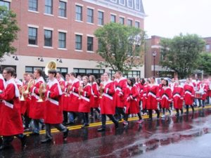 The WHS Band performs in the rain.