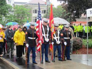 A United States Marine Corps honor guard