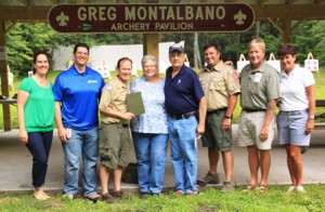 Matthew J. Budz, Scout executive/CEO,  (third from left) with members of the One Ball Two Strikes Foundation (l to r) Tara Fallon, Pat Fallon, Sharon Montalbano, Andy Montalbano, Ian Johnson, John Gareri and Maureen Johnson. Missing from photo are foundation members Ellen Bishop and Kristen Montalbano.