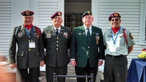 Westborough veterans who participated in the flag raising ceremony include from left: Armand Powers, Paul Murphy, Denny Drewry, and Jason Cusson.